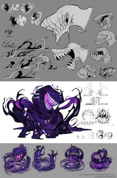 ArtStation – Orphea Concept Art, Oscar Vega – Art Drawing Tips Monster Art, Monster Concept Art, Fantasy Monster, Monster Design, Monster Drawing, Game Concept Art, Creature Drawings, Animal Drawings, Art Drawings