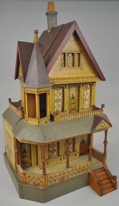 BLISS DOLLHOUSE WITH TOWER. Live auctioneers. Nice Victorian dollhouse, with nice soft colors.  .....Rick Maccione-Dollhouse Builder www.dollhousemansions.com