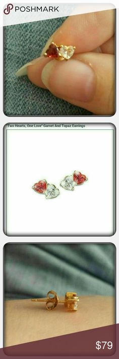 NWOT Genuine Garnet & White Topaz Heart Earrings Brand New Never Worn Woman's Genuine Garnet & White Topaz Heart Earrings. These Gorgeous Earrings Are Made Of Solid Sterling Silver & 24K Gold Accents Exclusive Design For The Bradford Exchange Excellent Condition Matching Pendant & Ring Listed Separately  PAYPAL  TRADES  OFFERS PRICE IS FIRM ❤ Bradford Exchange Jewelry Earrings