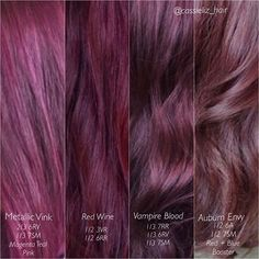 Red violet hair dye ideas with color ratios provided. Violet Hair Colors, Red Violet Hair, Purple Burgundy Hair, Hair Colours, Red Violet Highlights, Rose Gold Hair Brunette, Purple Bob, Maroon Hair, Cabelo Ombre Hair