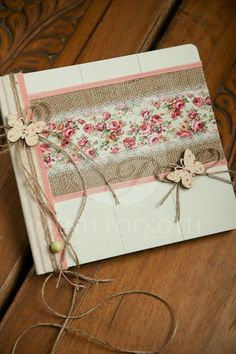 An amazing handcrafted wooden guest book embellished with burlap, floral fabric, lace and butterflies. Mini Scrapbook Albums, Mini Albums, Tea Display, Fabric Postcards, Baptism Party, Creative Journal, Floral Fabric, Book Crafts, Wedding Guest Book