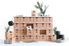 diy calendrier de l'avent réutilisable en bois et liège pour un Noël d'inspiration scandinave.
