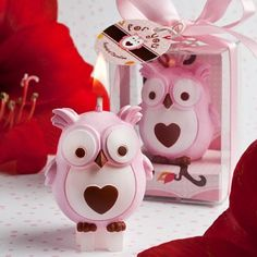Baby Pink Owl Candle Favor