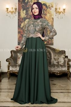 Dilek Tasarım Yeşil Gülze Saten Tesettür Abiye Elbise