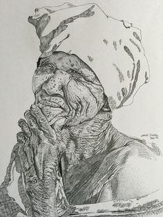Pen and ink dots make up this portrait of an African old woman