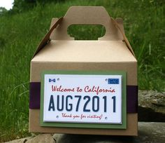 Wedding Welcome Bag/Basket - Partying Favor - California Plate Theme. $3.50, via Etsy.