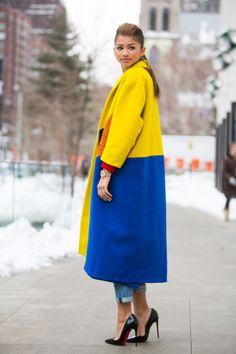 Brighter than bright block colour coat #NYFW