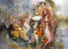 Buy Garden Of One, a Ink on Canvas by Iva Troj from United Kingdom. It portrays: Nude, relevant to: birds, sea, woman, field, fish, flowers, gold, nude This painting was the result of an extensive study I did for a 4m wide wall art installation at a restaurant in New York. The background elements I've painted here are all from that work, but I decided to do something different with them. The nude figure is inspired by the works of Gustav Klimt.