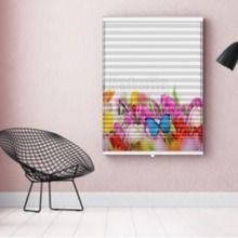 Photo-Store Plissé Tulipes et papillons multicolors  EN DIFFÉRENTES DIMENSIONS, SEMI-TRANSPARENT, GRAND GAIN DE PLACE