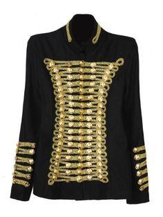 Sequined Cotton Blend Jacket. Approximate size guide: S: Shoulder 15.7, Bust 32.6, Length 23.6, sleeve length 18.11 M: Shoulder 16.5, Bust 34.6, Length 24.4, sleeve length 18.8 L: Shoulder 17.3, Bust