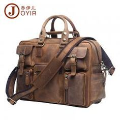 [ $20 OFF ] Luxury Vintage Crazy Horse Leather Messenger Satchel Laptop Briefcase Men's Business Leather Shoulder Bags 14'' Laptop Bag Tote