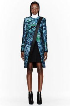 Proenza Schouler Blue And Green Mottled Slub Placket Coat for women | SSENSE