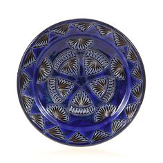 Cobalt Carved Medium Morrocan Decorative Plate