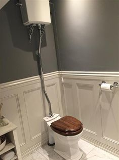 New Dark Grey Painted Furniture Farrow Ball Ideas Wooden Bathroom Floor, Dark Wood Bathroom, Bathroom Wall Panels, Bathroom Paneling, Bathroom Flooring, Wall Panelling, Downstairs Cloakroom, Downstairs Toilet, White Washed Wood Paneling