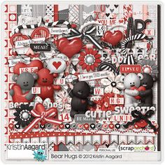 Bear Hugs is a huge love-bear themed digital scrapbook kit by Kristin Aagard. Use this kit to scrap own sweet love, Valentine's Day and tedd Owl Templates, Leaf Template, Applique Templates, Flower Template, Crown Template, Applique Patterns, Butterfly Template, Printable Scrapbook Paper, Scrapbook Kit