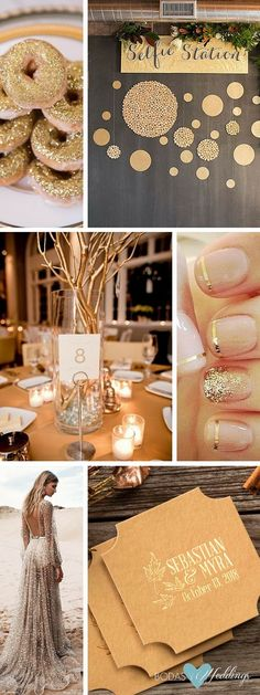 50 Trendiest Gold Wedding Ideas. Shimmering gold wedding ideas. Take a look! Gold donuts! | Get wedding guests interacting with a gilded selfie station. | Gold twig centerpieces | One Day Bridal 2016 wedding dresses feature delicate lace, sparkling beads, chiffon and organza | Personalized foil stamped coasters