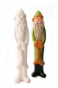 Bisque/Unpainted Ceramic Shapes, Santa Pencil Ornament.