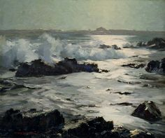 """Moonlight Rays, Ogunquit, Maine,"" Stanley W. Woodward, oil on canvas, 25 x 30"", Addison Gallery of American Art."
