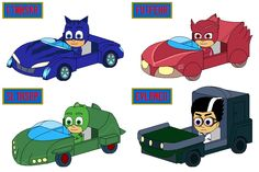 """I hand-drew these of go-karts design for my """"Disney Junior Race-a-Rama"""" these are the PJ Masks go-karts with license plates from Left up to Right Down: Catboy with his Cat-Car Jr. Pj Party, Mask Party, 5th Birthday, Birthday Ideas, Cars Junior, Pj Mask, Disney Junior, License Plates, Go Kart"""