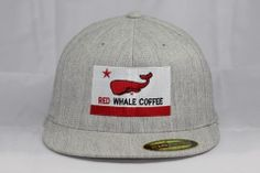 Red Whale Coffee Flag Hat, Heather Grey-Flex Fit, Flat Bill - Red Whale Coffee