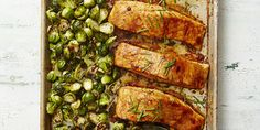 """BBQ"" Salmon & Brussels Bake AB: So quick to put together. Salmon had great caramelized flavors. Easy Salmon Recipes, Super Healthy Recipes, Fish Recipes, Seafood Recipes, Cooking Recipes, Recipies, Seafood Dishes, Cooking Corn, Salmon Dishes"