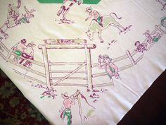 Hey, I found this really awesome Etsy listing at https://www.etsy.com/listing/195187004/vintage-tablecloth-whimsical-startex