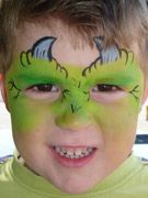 Easy monster face painting with quick sponged base