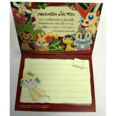 Pokemon Center 2014 Snivy Pikachu Jirachi & Friends Christmas Thank You Message Card NOT SOLD IN STORES