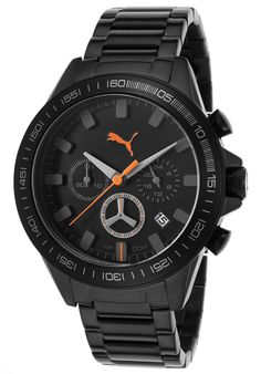 Puma Men's Motor Sport Chrono Black IP Stainless Steel