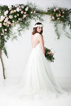 Rosemary | One Shoulder | Ivory | Rosemary | Charlotte Balbier | Soft tille | Satin | Lace | Applique | Ball gown  | Charlotte Balbier