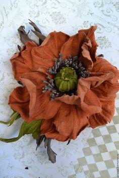 Купить Цветы из кожи, брошь Мак Гаучо - мак, рыжий, цветы, цветы ручной работы
