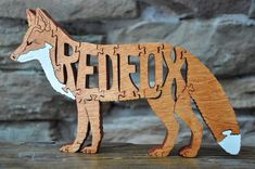 Red Fox Wooden Animal Puzzle Toy  Hand Cut  with Scroll Saw NEW DESIGN
