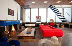 Love the blue tile fireplace mantle in the Norwegian cabin of legendary designer Grete Prytz Kittelsen.