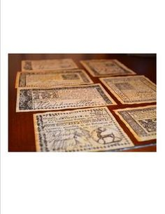Make history come alive with this collection of Colonial and Revolutionary money replicas. This collection contains seven replica bills used during Colonial and Revolutionary times. They have been printed on antiqued parchment and look and feel old.     Use them while reading informational text. Let students act out Colonial life using replica money!  Free shipping.  $5.00