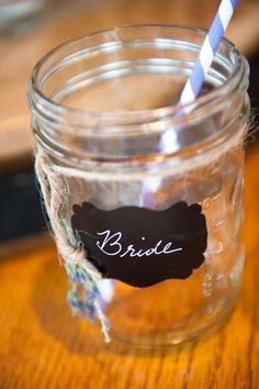 Mason jars, twine, labels from Etsy, white marker, and chevron straws from amazon.