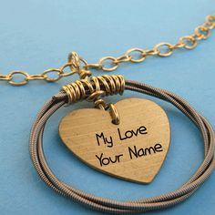 Write Name Stylish Cool Music Guitar Keychain Pictures Gold Chain With Pendant, Gold Pendant, Couple Name Tattoos, Poetry Photos, Love Heart Images, Missing You Love, Crush Love, Hand Bracelet, Beautiful Love