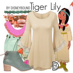 Tiger Lily by leslieakay on Polyvore featuring Lemaré, Emily & Ashley, Kendra Scott, Deepa Gurnani, disney, disneybound and disneycharacter