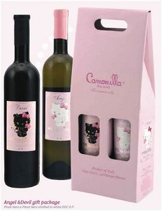 Hello Kitty Angel and devil gift pack. Just for you Esher Hello Kitty Wine, Hello Kitty Items, Hello Kitty Kitchen, Kawaii, Cheers, Hello Kitty Collection, Wine Collection, Here Kitty Kitty, Rilakkuma