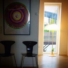 ARne Jacobsen chairs, Panton poster and Panthella lamp https://www.etsy.com/shop/Deerstedt