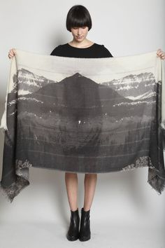 Totokaelo - U-Ni-Ty - Mountain Print Scarf - Faded Black Multi I need this! So pretty!