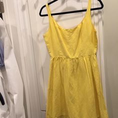 Seaton yellow sundress size small Seaton (from Neiman Marcus) yellow sundress with pink zipper detail on back with two front pockets, worn twice, perfect condition, size small Seaton Dresses Mini