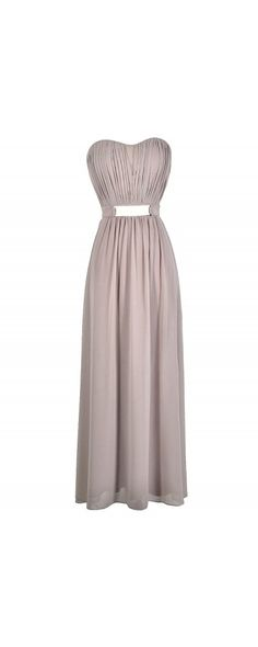 Chiffon Belted Designer Maxi Dress in Mink  www.lilyboutique.com
