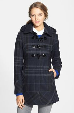 GUESS Plaid Toggle Front Coat with Removable Hood (Regular