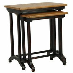 """Safavieh American Home Collection Alston Black and Light Brown Nesting Tables, Set of 2 by Safavieh. $171.34. Features an antiqued finish to add style to these beautiful tables. Crafted of solid birch wood and given a antiqued black finish. Perfect for a living room, family room, den, library, or study. The black finish of the base complemnts the light brown tabletops, and create a perfect accent to your home. No assembly required, the larger table measures 15"""" ..."""