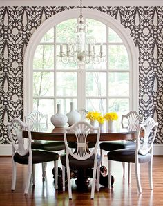 Black + White + Yellow. And that wallpaper!