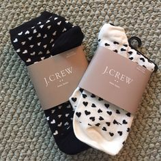NWT J.Crew hearts ankle socks - 2 pair Adorable ankle socks!  Retails for $8.50 each. J. Crew Accessories Hosiery & Socks