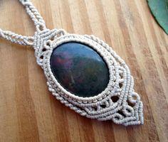 Agate macrame necklace macrame jewelry micro by SelinofosArt