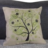 18inch Pretty Green Tree Cotton Linen Square Throw Pillow Case Cushion Cover