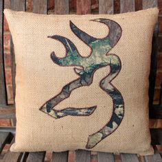 Burlap pillow cover with Stag Head applique in by HavenByLaura