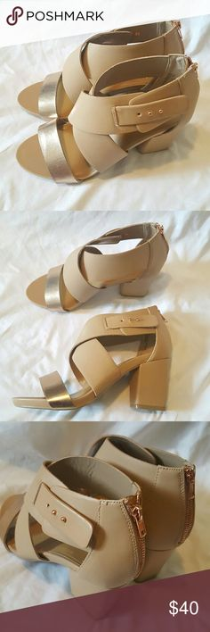 Lane Bryant strappy block heels 11 wide display shoe never worn outside. size 11 wide. Beautiful rose gold accents Lane Bryant Shoes Sandals